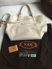 Auth TOD'S Logo E/W Shopping Media Off White Leather Tote Bag