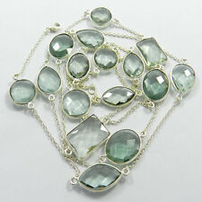 Green Amethyst Hydro Uneven Bezel 925 Sterling Silver Long Chain Necklace NC269