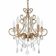 5 Light Crystal Swag Chandelier Glass Pendant Indoor Ceiling Fixture Lighting
