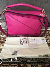 LOEWE PUZZLE SMALL CLASSIC CALF FUCHSIA CALFSKIN Leather Hand Tote Bag Pink 7170