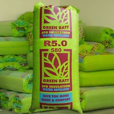 R5.0 Thermal Ceiling & Roof Insulation Glasswool Green Batts: 580mm width.