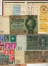 NAZI BANKNOTE, DOCUMENT, COIN AND STAMP SET  # 99