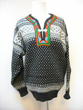 Dale of Norway Wool V-Neck Sweater Silver Buckle Black & White Embroidered L