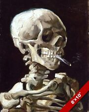 SKELETON & CIGARETTE PAINTING BY VAN GOGH SMOKING KILLS PSA ART CANVAS PRINT