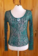 NEXT  petrol blue green floral lace mesh long sleeve tunic top STEAMPUNK 10 38