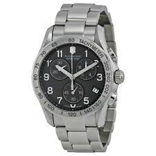 NEW VICTORINOX SWISS ARMY MEN'S CHRONO CLASSIC PVD COATED GREY DIAL WATCH 241405