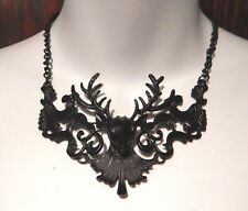 BLACK DEER FILIGREE NECKLACE damask stag antler Victorian Gothic elk bib NEW Z4