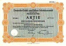 Degussa Deutsche Gold + Silber Scheideanstalt Frankfurt hist. Aktie 1942 Evonik