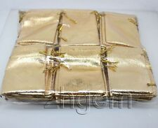 wholesale lot 100pcs golden  jewelry gift pouches 52mm *75mm wedding ceremony
