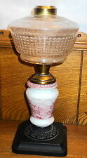 Antique Kerosene Lamp Base w/ Red Transfer Insert That Has A Cabin Scene