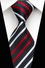 DO0477 Black Red White Classic Silk Jacquard Woven Man's Casual Tie Necktie