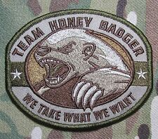 TEAM HONEY BADGER MILITARY TACTICAL US ARMY MORALE COMBAT MULTICAM HOOK PATCH