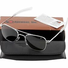 AO American Optical Military Aviator Silver Frames 52 mm Sunglasses Gray Lens