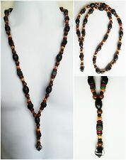 """ETHNIC INSPIRED MENS TRIBAL GLASS WOOD COCO BEAD LONG 3"""" PENDANT 29"""" NECKLACE"""