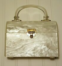 Vintage White Pearl Lucite Purse Handbag Bag Clutch Gold hard case box