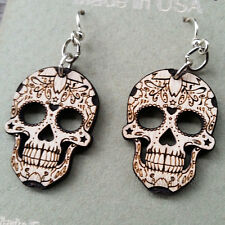 SUGAR SKULL BLOSSOM Green Tree Jewelry NATURAL WOOD laser-cut wood earrings 1499