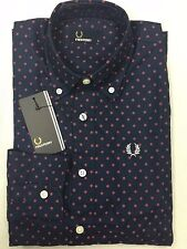 Fred Perry Men Casual Shirt Dark Blue Dots Long Sleeve 100% Cotton Regular Small