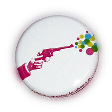 Badge COLT BUBBLE pink revolver pistolet rockabilly pois dots kawaii retro Ø25mm