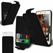 For Samsung Galaxy J1 4G - Black Carbon Fibre Clip On Flip Case Cover