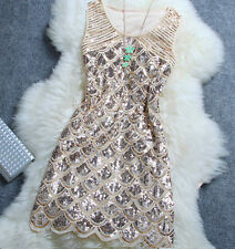 GREAT GATSBY 1920s LIGHT GOLD FLAPPER CHARLESTON SEQUIN DOWNTON ABBEY DRESS M
