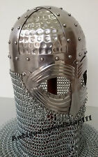 MEDIEVAL NORMAN VIKING ARMOR HELMET SPECTACLE HELMET GJERMUNDBU WITH CHAIN MAIL