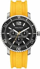 Nautica A16643G Watch Round Black Dial Stainless Steel Case Yellow Rubber Strap