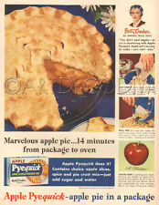 VTG 1940s Betty Crocker APPLE PIE Crust Filling RETRO Kitchen Cooking Baking Ad
