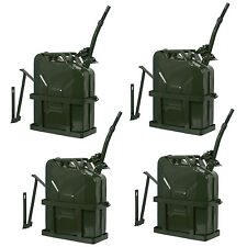 4PCS Jerry Gas Can Fuel Tank w/ Holder Steel 5 Gallon 20L Nato Military Green