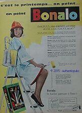 PUBLICITE BONALO LA BONNE PEINTURE A L'EAU COULEUR DE 1960 FRENCH AD PUB VINTAGE