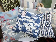 CUSHION COVER SEASIDE SHOAL FABRIC NAVY INK BLUE SAMAKI SEA FISH SEASIDE COAST B