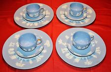 WEDGWOOD BLUE JASPERWARE 12 PIECE COLLECTION, PLATES, CUPS SAUCERS - MINT