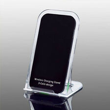 3 Coils Qi Wireless Fast Charger Charging Dock Stand Holder For iPhone Samsung