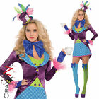 Adult Sexy Mad Hatter Costume Ladies Alice in Wonderland Fancy Dress Outfit New