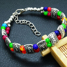 Elegant High Quality New Tibet Silver Multicolors Jades Turquoise Beads Bracelet
