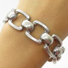 Italy 925 Sterling Silver Large Open Square Link Women's Wide Bracelet 7""