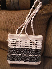"NEW Blue/White Embroidered Blend 15"" Strap Drop Woven Nylon Purse"