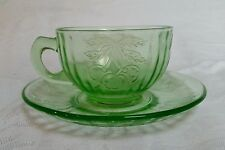 Green Depression Vaseline Uranium Glass Cherries Grapes Pears Cup & Saucer Set