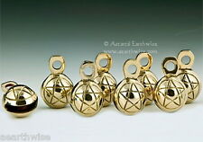 1 x CARVED PENTACLE BRASS GHUNGROO BELL  - Wicca Pagan Witch Goth PENTAGRAM BELL