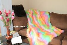 "60"" x 72"" Rainbow Fur comforters throw blankets bedding home decor"