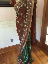 Brown and Green with Peacock Inspired Print- Indian Bollywood Sari