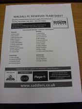 19/11/2013 Walsall riserve V Tranmere Rovers riserve [a chasetown] (singolo SH