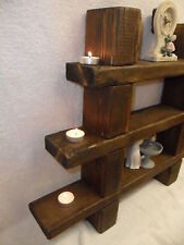 Handmade Chunky 3 Tier Wall Mounted Shelf From Reclaimed Timber.Country Cottage