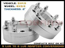 "2 PC 5x4.5"" (5x114.3 MM) TO 6x5.5"" 2"" THICK CONVERSION WHEEL SPACERS ADAPTERS"