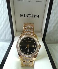 ELGIN FG1509 Men's Gold plated Black Dial Swarovski Stones WR. Watch New In Box