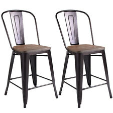 Copper Set of 2 Metal Wood Counter Stool Kitchen Dining Bar Chairs Rustic