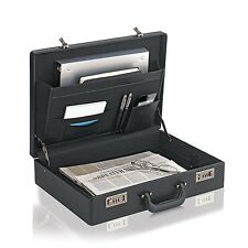 Leather Like Briefcase Expandable Attache Hard Bag Business Combination Locks