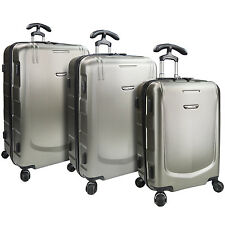 Traveler's Choice Palencia Silver Grey 3pc Hardside Luggage Spinner Suitcase Set