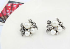 New Chic Retro Girl Flower Crystal Pearls Charm Ear Stud Earrings Women Jewelry
