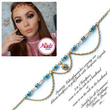 HeadPiece Hair Indian Costume Jewellery Matha Patti Scarf Hijab gold light blue