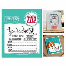 """Avery Elle Clear Stamp Set 4""""X3"""" - You're Invited AE1439"""